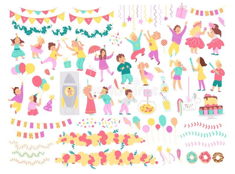 Vektorsamling av ungar för födelsedagparti, dekoridébeståndsdelar som isoleras på vit bakgrund - pinata, raket, ballonger, kaka,  vektor illustrationer