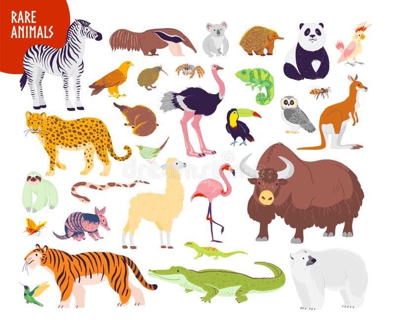 Vektorsamling av utdragen sällsynt vilda djur för plan hand som isoleras på vit bakgrund: sebra tiger, flamingo, echidna, yak, pa vektor illustrationer