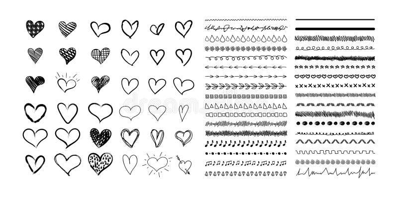 Vektorsamling av utdragna hjärtor för hand och gulliga avdelarlinjer, svarta teckningar som isoleras på vit bakgrund vektor illustrationer