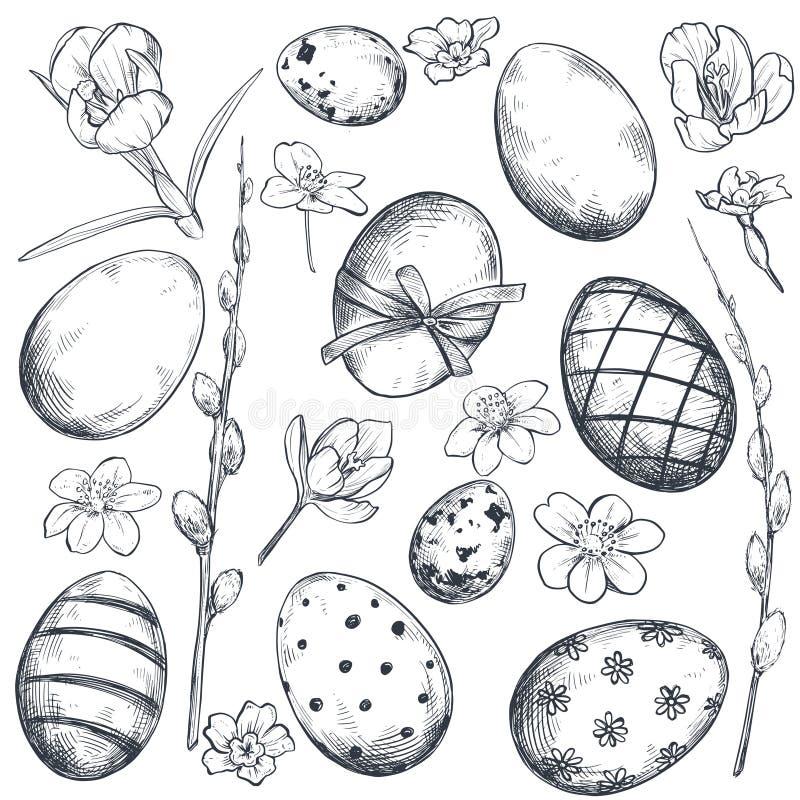 Vektorsamling av utdragna utsmyckade påskägg för hand och vårblommor royaltyfri illustrationer