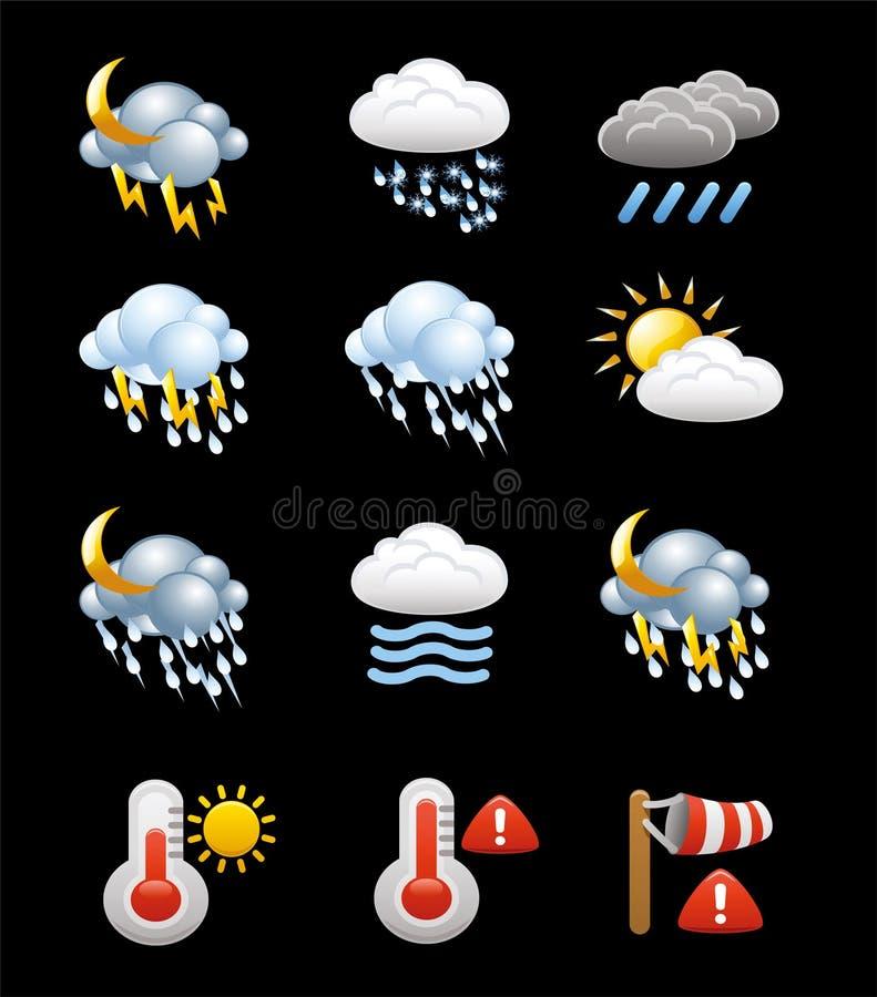 Vektorsamling av vädersymboler och symboler stock illustrationer