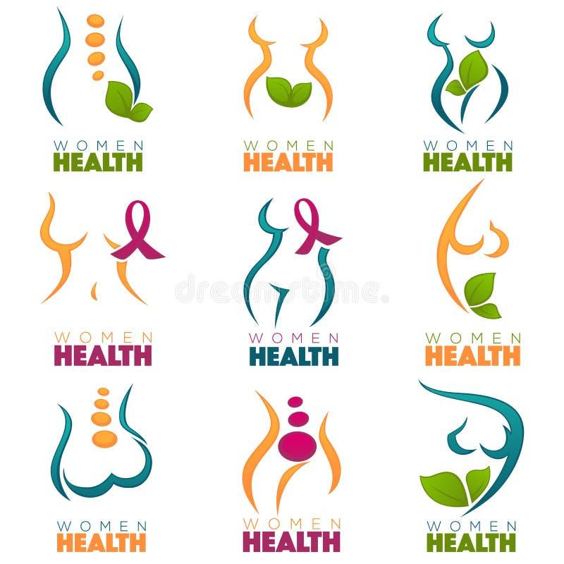 Vektorsamling av vård- kvinnor och omsorgsymboler, etiketter eller em stock illustrationer