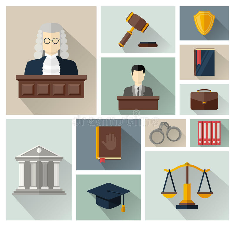 Vektorsamling eller uppsättning av lag- och rättvisasymboler vektor illustrationer