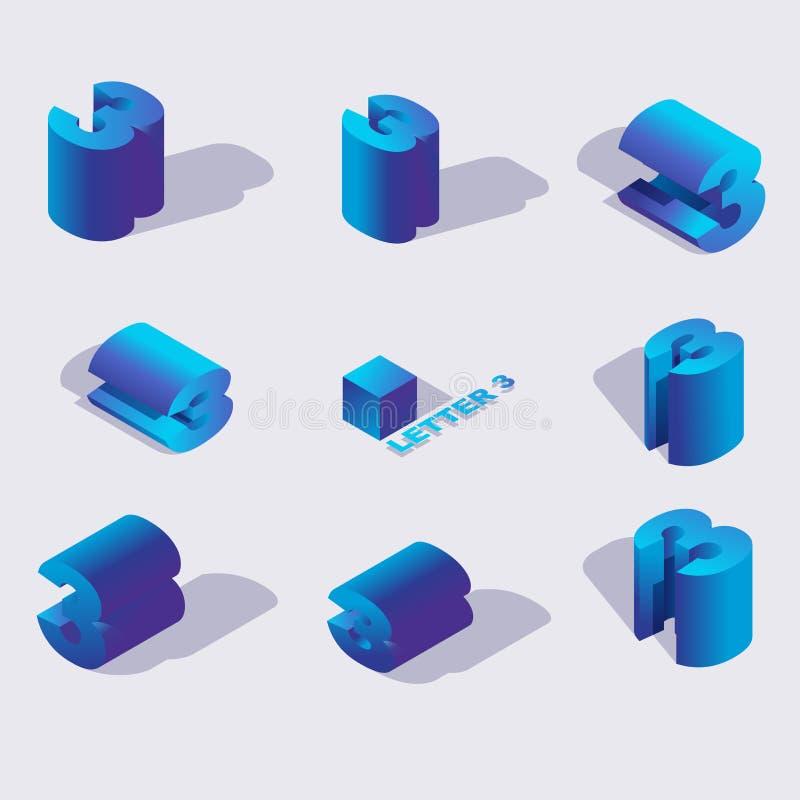 Vektorsamling med livlig blå färgryssbokstav z eller nummer 3, med skuggor och ljusa lutningar i isometrisk stil 3d vektor illustrationer