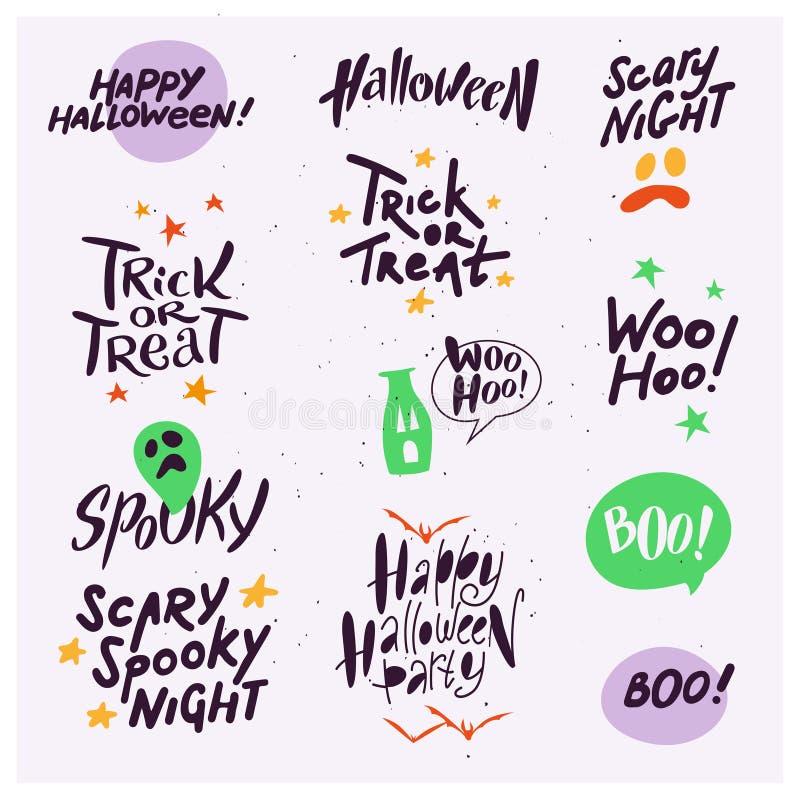 Vektorsamlingen av allhelgonaaftonlägenhetberöm citerar, att märka, uttryck och symboler för parti för traditionella halloween be vektor illustrationer