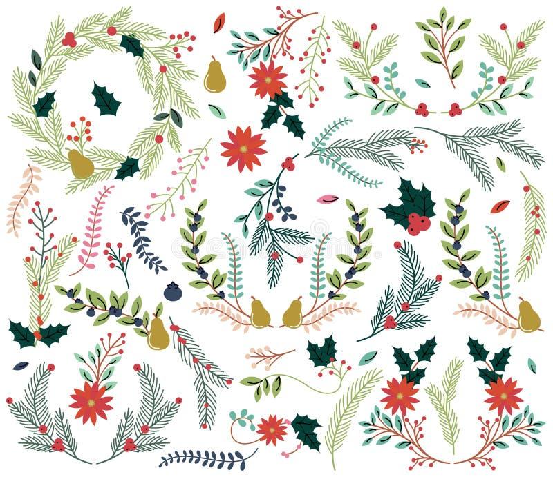 Vektorsamlingen av dragen jul för tappningstil handen semestrar blom- stock illustrationer
