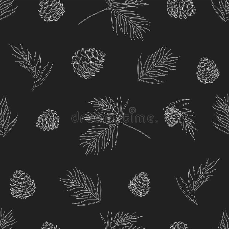 Vektorsamlingen av för svart tavlastil för tappning jul semestrar blom- royaltyfri illustrationer