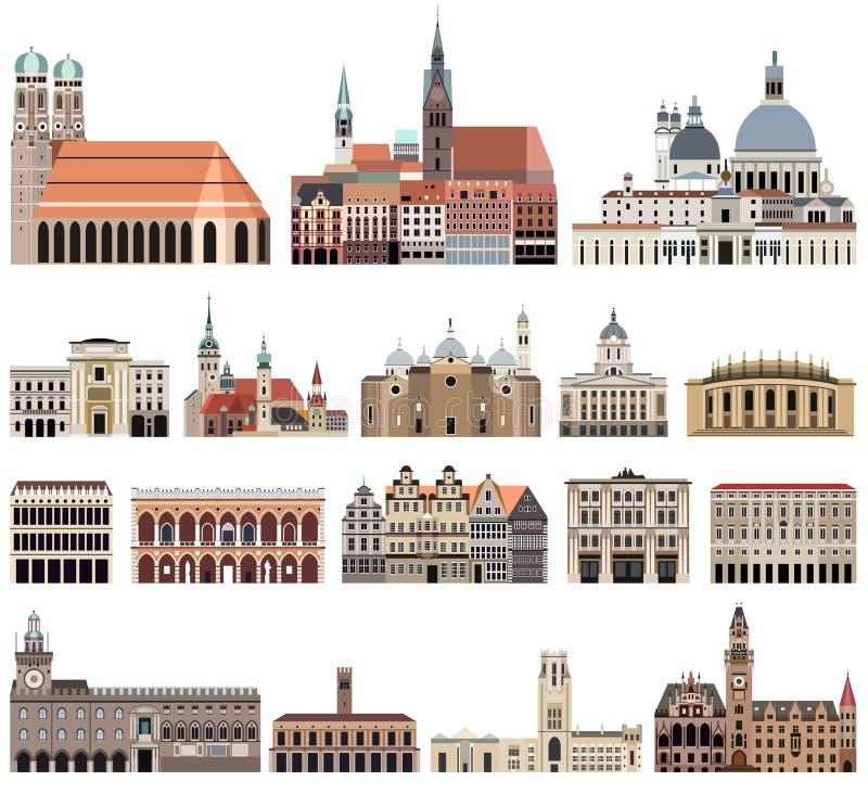Vektorsamlingen av höjdpunkten specificerade isolerade stadshus, gränsmärken, domkyrkor, tempel, kyrkor, slottar vektor illustrationer