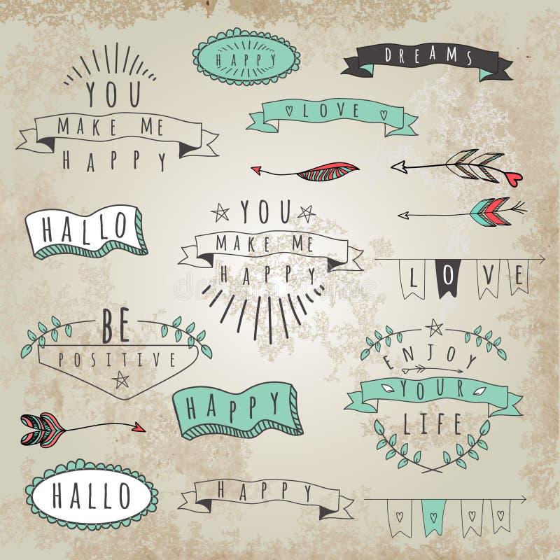 Vektorsamlingen av hipsterstil uttrycker och uttryck vektor illustrationer