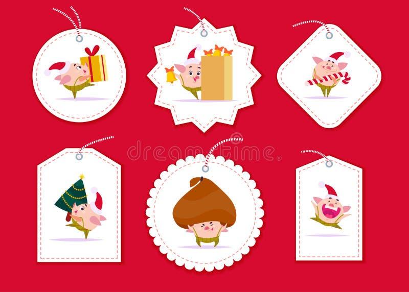 Vektorsamlingen av julgåvan märker och förser med märke olika former som isoleras på röd bakgrund vektor illustrationer