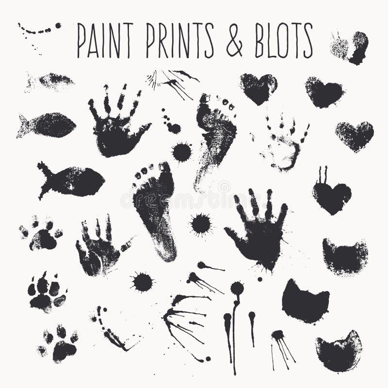 Vektorsamlingen av målarfärg skrivar ut - fotsteg, pawprints, gömma i handflatan, formar av hjärtor, kattfisken, inkblots stock illustrationer