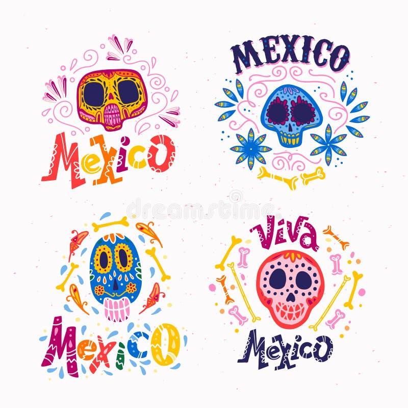 Vektorsamlingen av Mexico emblem med prydnadskallen, text, den traditionella modellen som isolerades på ljus, texturerade bakgrun stock illustrationer