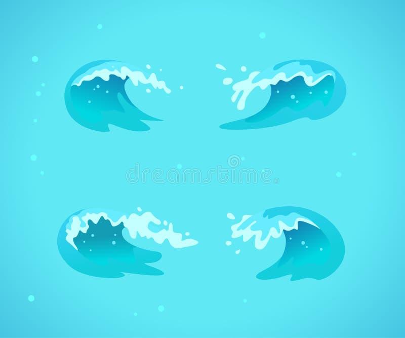 Vektorsamlingen av plana vågor för blått vatten, plaskar, buktar symboler på blå bakgrund royaltyfri illustrationer