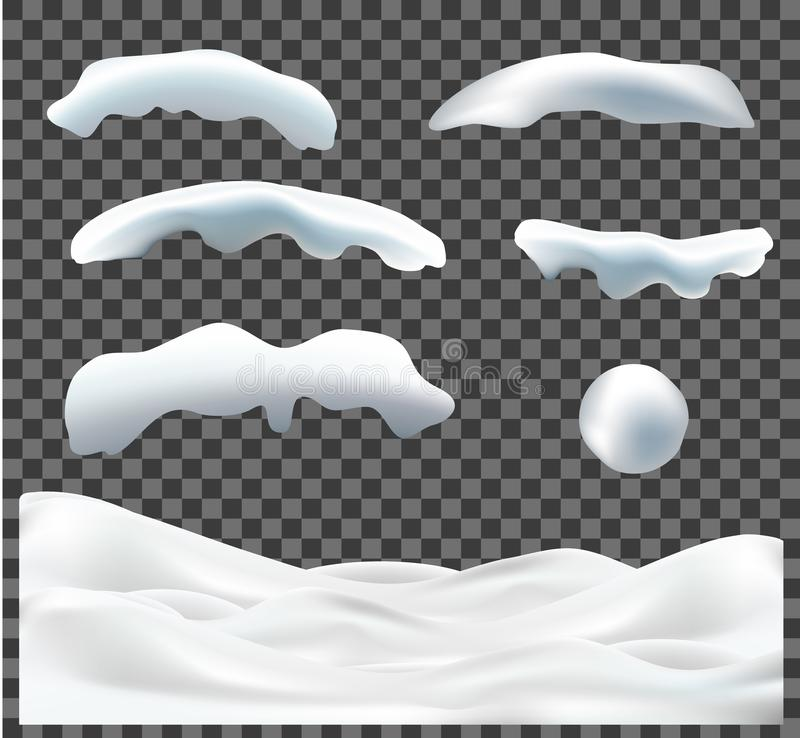Vektorsamlingen av snölock, högen, istappar, is, kastar snöboll och snödrivan som isoleras på genomskinlig bakgrund vektor illustrationer