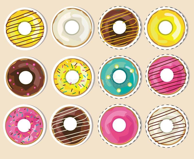 Vektorsamlingen, ställde in av donutsklistermärkear Realistiska glasade donuts stock illustrationer