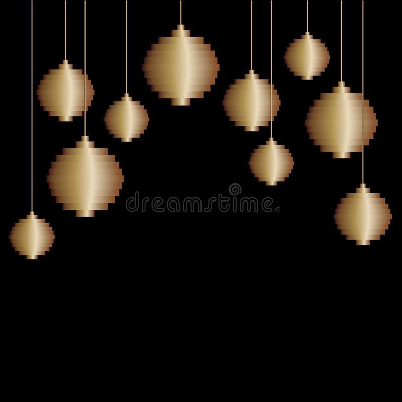 Vektorsammansättning av den guld- leksaken för boll för PIXELkonstjulgran Jul minimalist bakgrund, hälsningkort royaltyfri illustrationer
