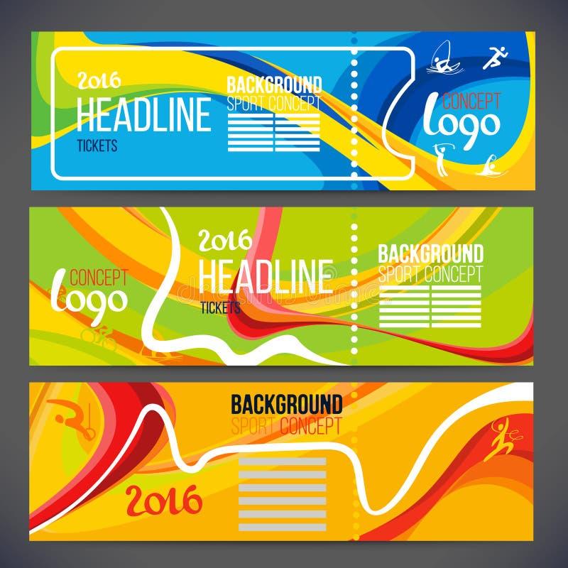 Vektorsammansättning av en våg av musikband med olika färger flätas samman inklusive sportsymboler stock illustrationer
