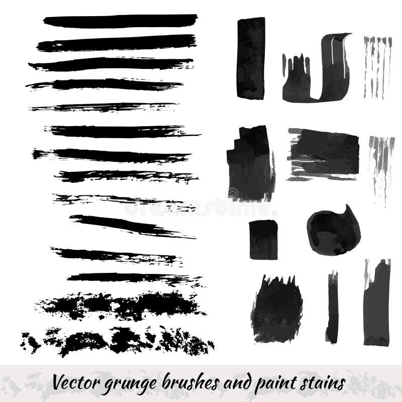 Vektorsammlung mit Schmutzbürstenanschlägen und Farbenflecken Schwarzer Tintenelementsatz stock abbildung