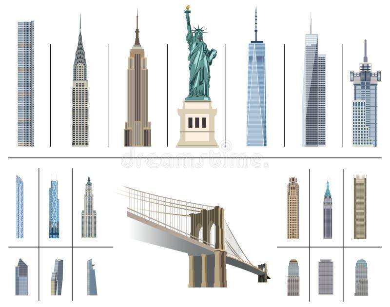 Vektorsammlung New- York Citymarksteine lizenzfreie abbildung