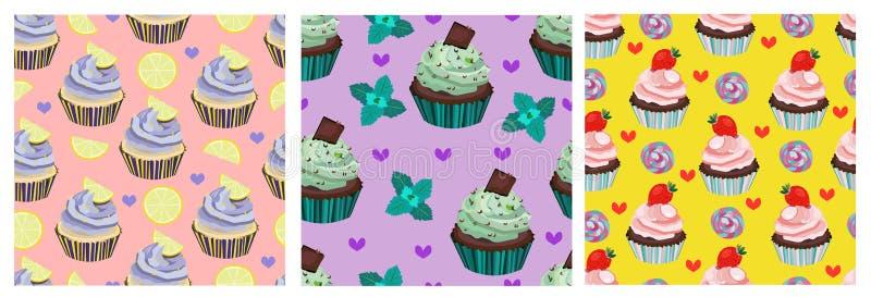 Vektorsammlung, Satz schöne nahtlose Muster, Drucke Netter kleiner Kuchen, Kuchen, Muffin, Nachtisch Rosa-, violettes und Gelbes  stock abbildung