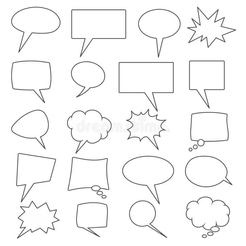 Vektorsammlung von 20 verschiedenen geformten komischen Spracheblasen lizenzfreie abbildung