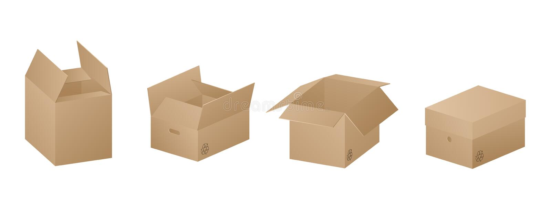 Vektorsammlung von vier Papierkästen des schönen realistischen braunen Kartons auf weißem Hintergrund lizenzfreie abbildung