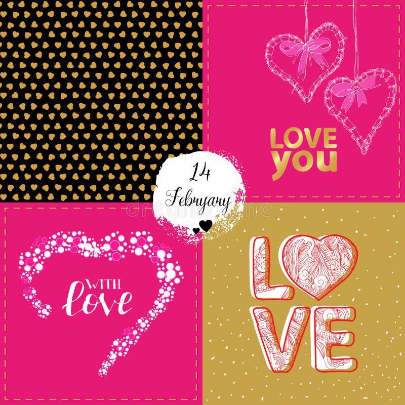 Vektorsammlung von vier Valentinsgrußkarten lizenzfreie abbildung