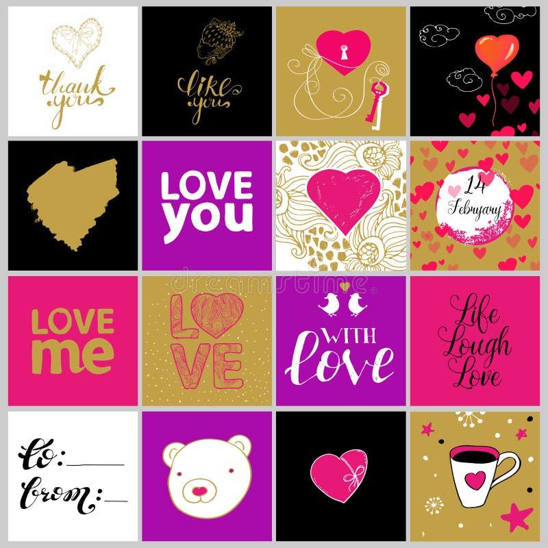Vektorsammlung von zwölf Valentinsgrußkarten lizenzfreie abbildung
