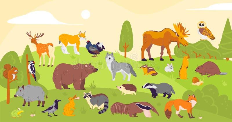 Vektorsammlung Waldtiere und -vögel: Bär, Fuchs, Hase, Eule lokalisiert auf Waldlandschaftshintergrund Flache Handgezogener Schwe lizenzfreie abbildung