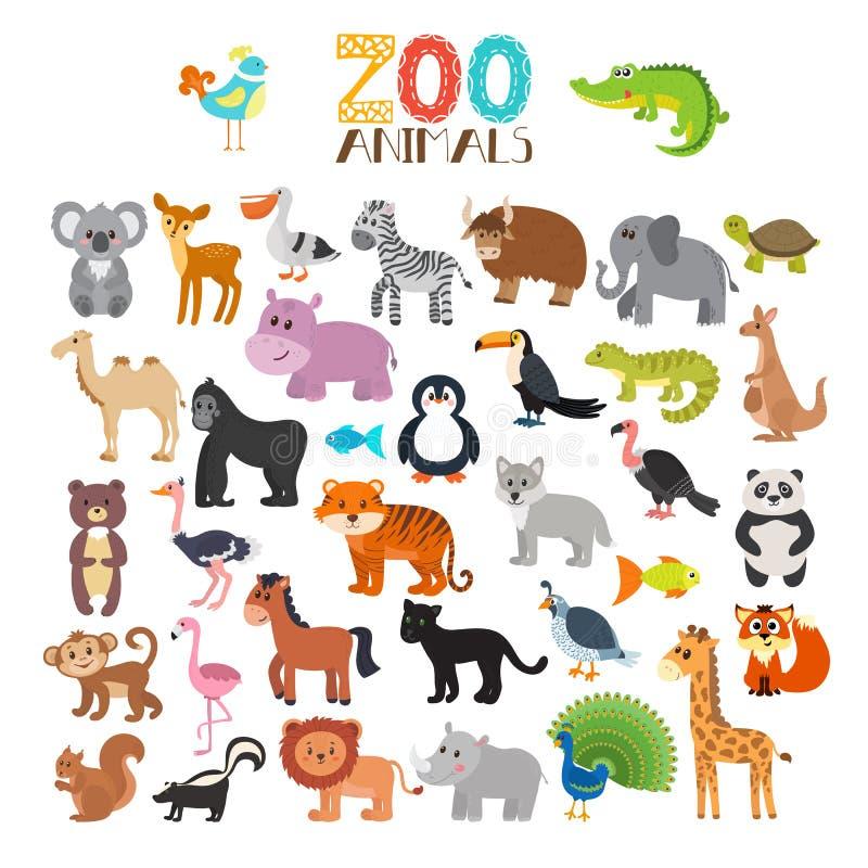 Vektorsammlung Zootiere Set nette Karikaturtiere stock abbildung