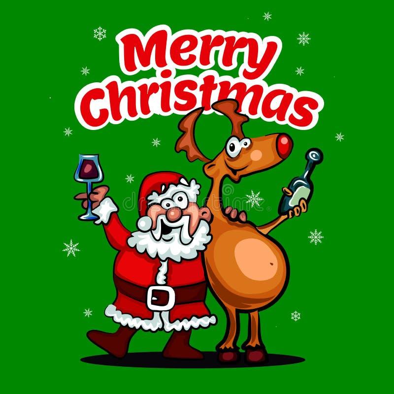Vektorsankt-Karikatur mit lustigem Weihnachtsmann und rotem gerochenem Ren Nahtloses Muster vektor abbildung