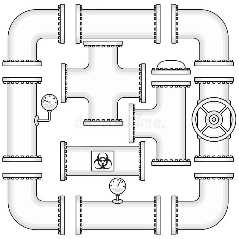 Vektorsatsen för rörledningkonstruktion inkluderar rör, lock, ventiler royaltyfri illustrationer
