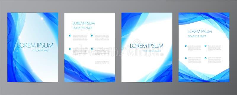Vektorsatz abstrakte blaue Jahresberichtschablonen, Wasserabdeckungen, gewellter Hintergrund lizenzfreie abbildung
