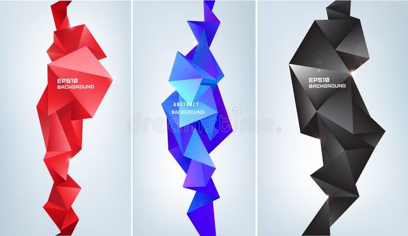 Vektorsatz abstrakte Formen der Facette 3d Geometrische Dreieckfahnen, vertikale Orientierung Buntes, futuristisches modernes vektor abbildung