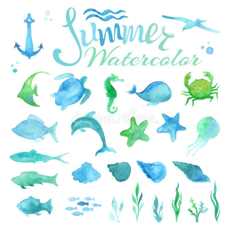 Vektorsatz Aquarellmeeresflora und -fauna lizenzfreie stockfotos