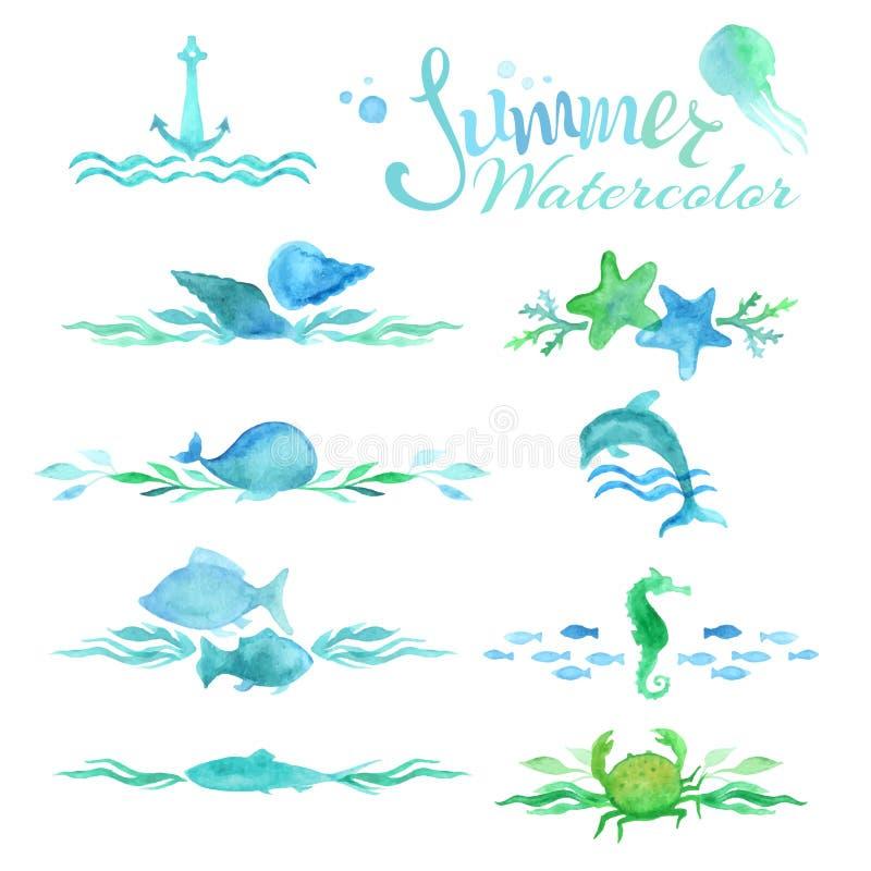 Vektorsatz Aquarellozeanseitendekorationen und -teiler lizenzfreie abbildung