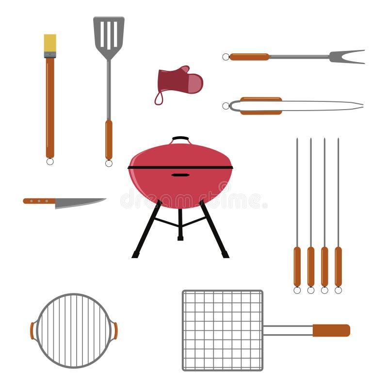 Vektorsatz BBQ- oder Grillwerkzeuge Getrennt auf weißem Hintergrund stock abbildung
