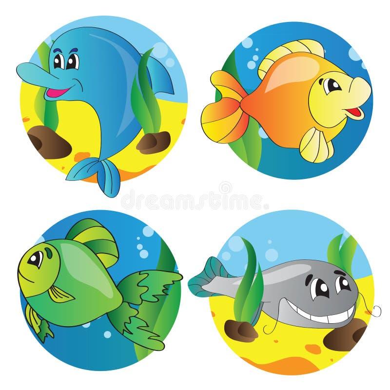 Vektorsatz Bilder des Meeresflora und -fauna vektor abbildung