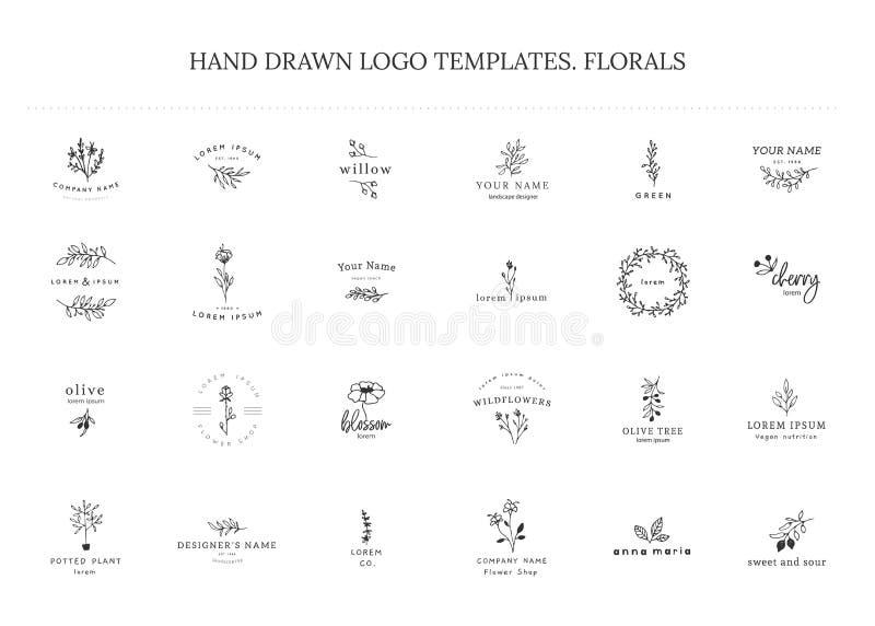Vektorsatz Blumenhand gezeichnete Logoschablonen in der eleganten und minimalen Art lizenzfreie abbildung