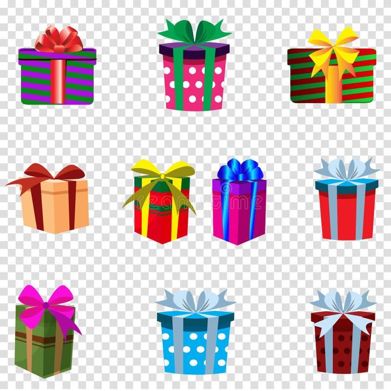 Vektorsatz bunte Geschenkboxen lokalisiert auf transparentem Hintergrund vektor abbildung