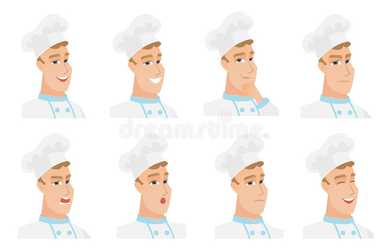 Vektorsatz Chefkochercharaktere vektor abbildung