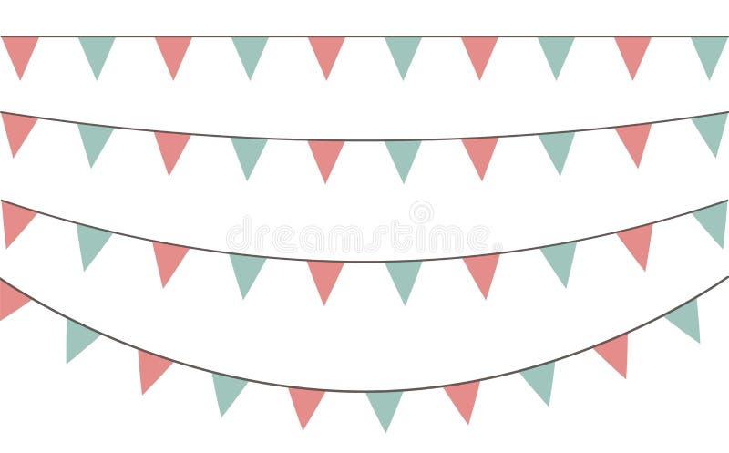 Vektorsatz dekorative Parteiwimpel mit verschiedenen Größen und Längen Feiern Sie Flaggen Regenbogengirlande Blumen und Geschenke vektor abbildung