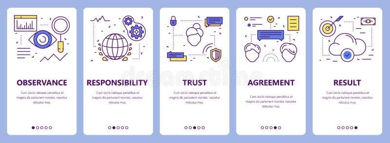 Vektorsatz der dünnen Linie flache Designverpflichtungs-Konzeptfahnen lizenzfreie abbildung