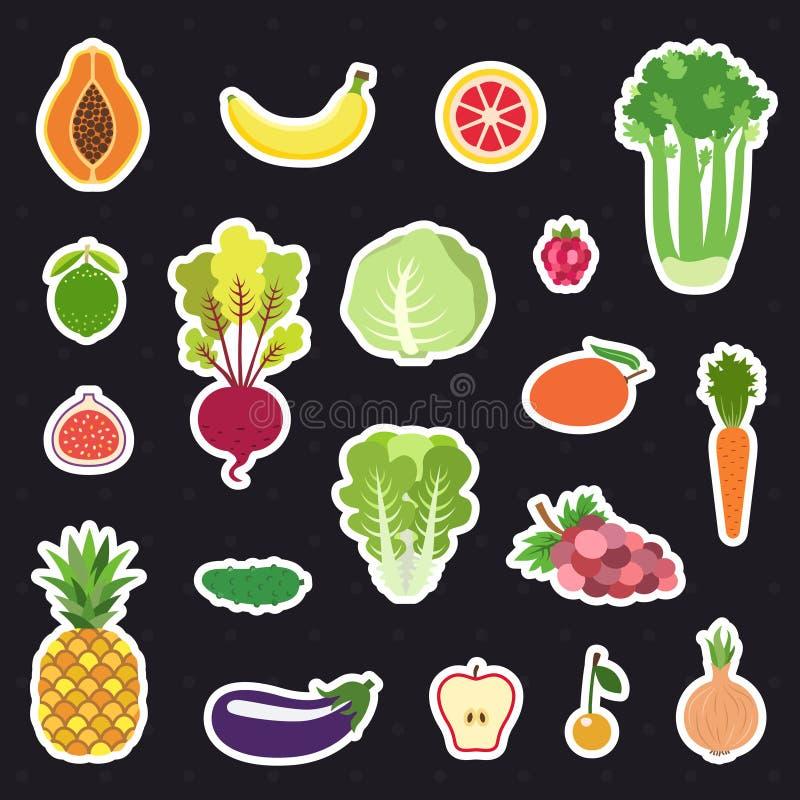 Vektorsatz der Gemüse- und Fruchtaufkleber (Ikonen) Modernes flaches Design vektor abbildung