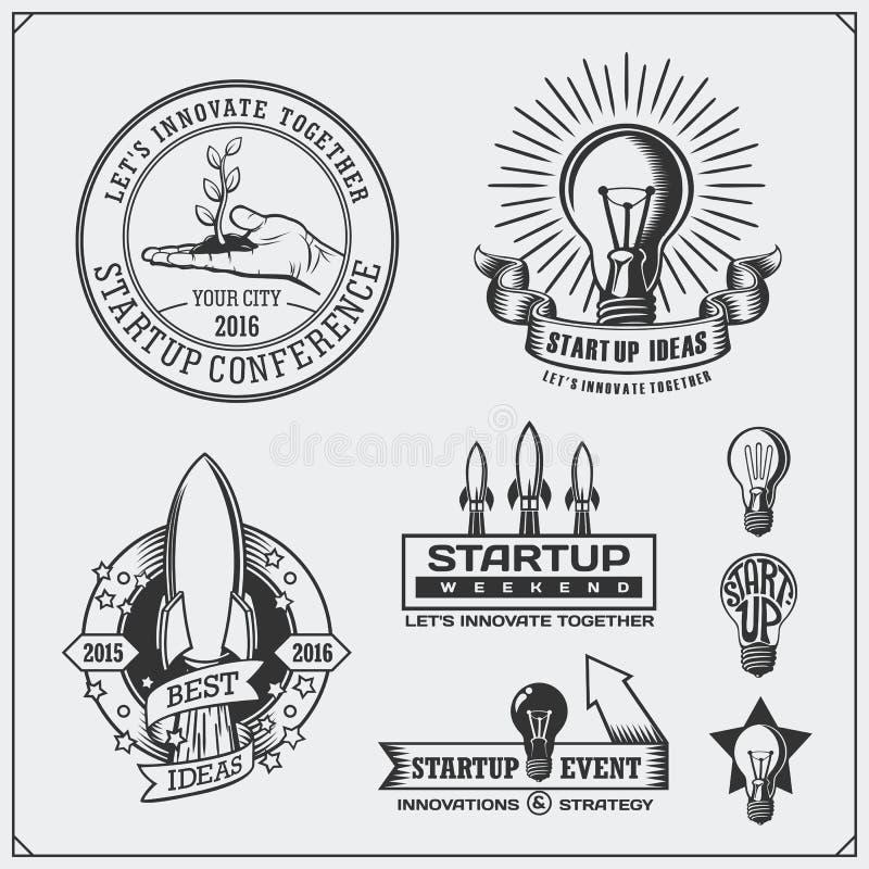 Vektorsatz der Idee, Geschäft, Konzept und Projekt beginnen oben Logos, Ikonen, Emblem und Aufkleber lizenzfreie abbildung