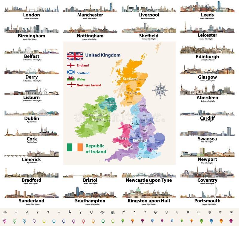 Vektorsatz der Landstadt-Skyline der britischen Inseln abstrakte Ikonen Karte und Flaggen von britischen Inseln: Vereinigtes Köni stock abbildung