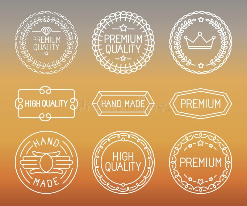 Vektorsatz der Linie Ausweise und Logos lizenzfreie abbildung