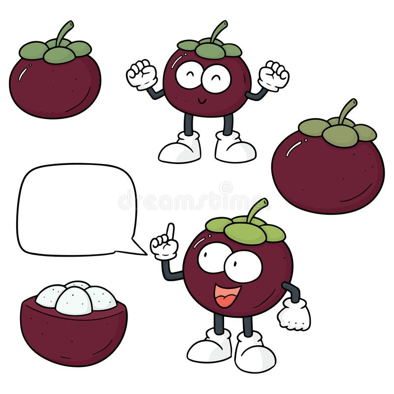 Vektorsatz der Mangostanfrucht lizenzfreie abbildung