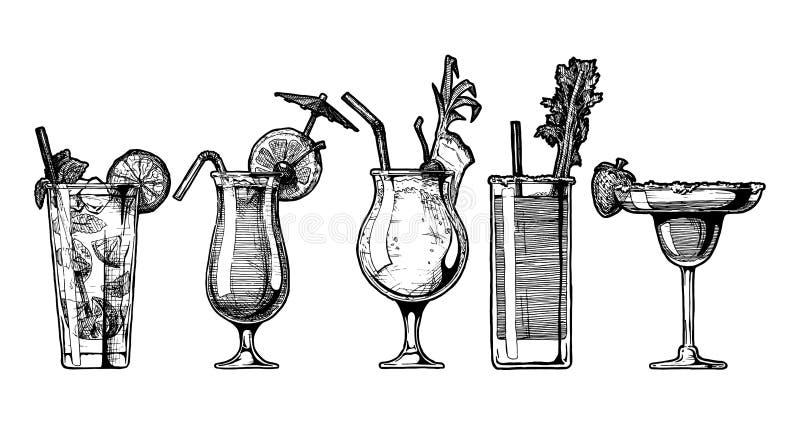 Vektorsatz des Alkoholcocktails vektor abbildung