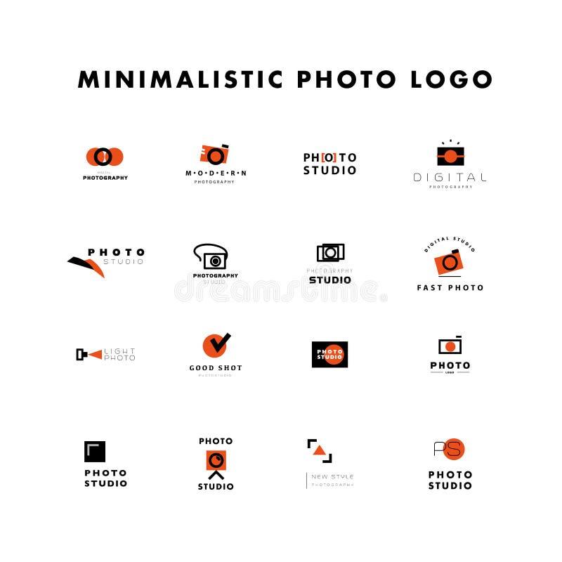 Vektorsatz des flachen modernen Fotologos lizenzfreie abbildung